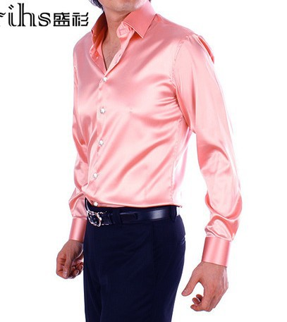 Men's Fashion Long sleeve Solid Color Shirt Wedding Dress Pink ...