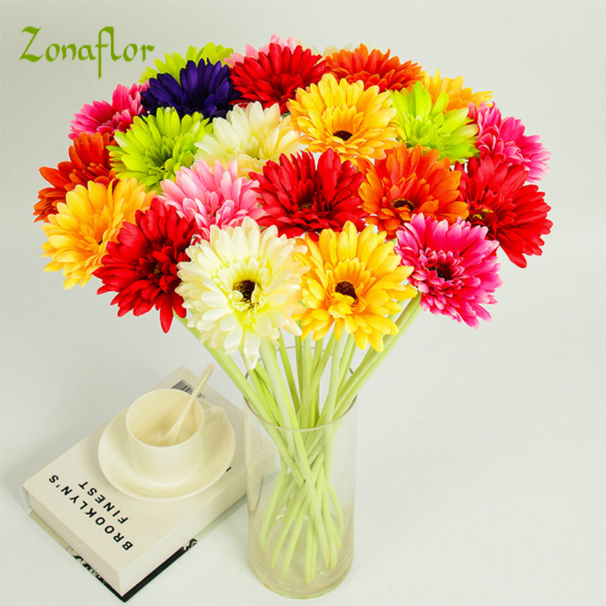 Zonaflor 10pcslot gerbera artificial flower fake silk flowers bride zonaflor 10pcslot gerbera artificial flower fake silk flowers bride bouquets decorative wedding flowers home decoration in artificial dried flowers from mightylinksfo