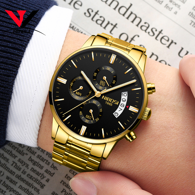 2019 NIBOSI Gold Quartz Watch Top Brand Luxury Men Watches Fashion Man Wristwatches Stainless Steel Relogio Masculino Saatler    2