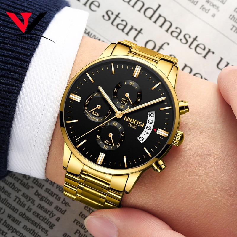 2019 NIBOSI Gold Quartz Watch Top Brand Luxury Men Watches Fashion Man Wristwatches Stainless Steel Relogio Masculino Saatler    2