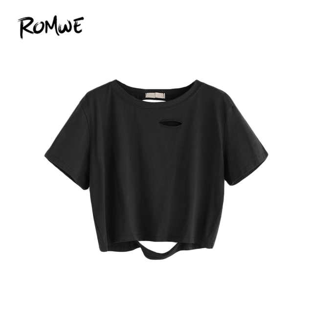 15d0d6dda14e9 ROMWE Crop Tops Women Black Ripped Crop T-shirt Summer Short Sleeve Hollow  Out Tee