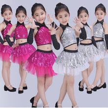 Children Sequin Jazz Dance Modern Dance Costume Fashion Latin Waltz Dancing Dress Stage Show Dresses Jazz Costumes For Girl(China)