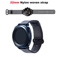 Купить с кэшбэком Nylon Bracelet Watchband Men Women Smart Watch Pulsera Correa Band 22mm Wrist Strap Metal Buckle Watchbands Black WristStrap