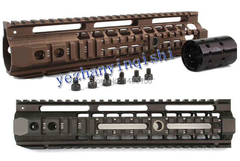 picatinny rail 10inch for AEG M4 / M16 Tactical Handguard Rail System BK/CB/TAN - Free shipping 12 durable mil spec style matte finish lightweight aluminium handguard picatinny quad hunting shooting rail for aeg m4 m16 ar15