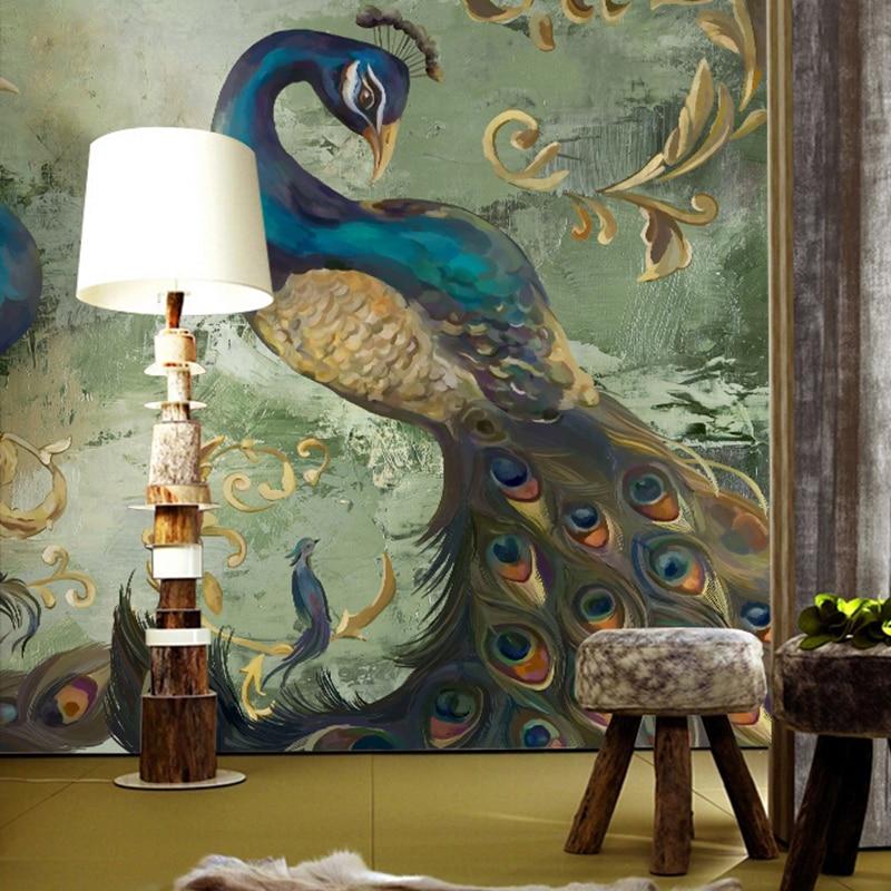Southeast custom 3D wallpaper theme room restaurant entrance bedroom 3D wallpaper backdrop tooling large mural peacock