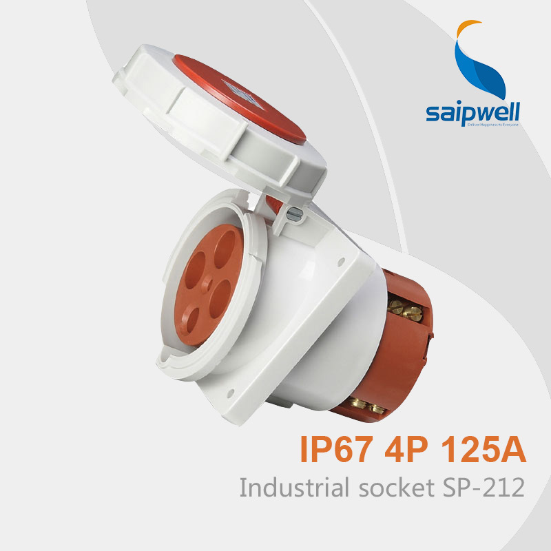 цена на Saipwell IP67 Waterproof Power Socket iec 60309-2 Industrial Plug Socket 3P+E 125A SP-212 High Quality Free Shipping