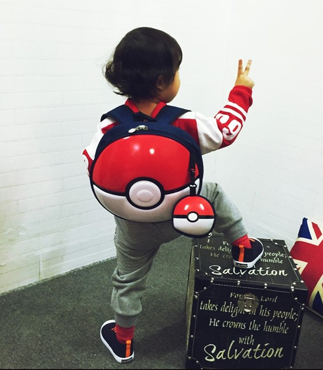 Japan Style Pokemon Go Pokemon Monster Poke Ball  Pvc Backpack Shield Bag Cosplay Use Children's Gift Child Baby Use