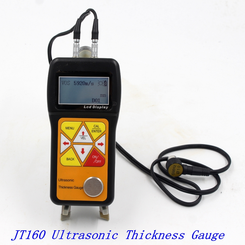 Ultrasonic Thickness Gauge 0.75~600mm Portable Digital LCD Sheet Metal Pipes Glass Thickness Tester Sound Velocity Meter JT160Width Measuring Instruments   -