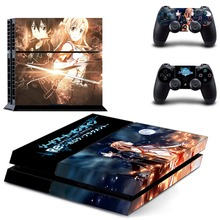 New Sword Art Online Decal PS4 Skin Sticker For Sony Playstation 4 PS4 Console +2Pcs Controllers 5 patterns