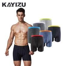 6 cái/lốc KAYIZU Thương Hiệu của Nam Giới Underwear Sọc Mềm Nam Boxer Shorts Pouch Ngủ Men Panties Quần Lót Bermuda Masculina