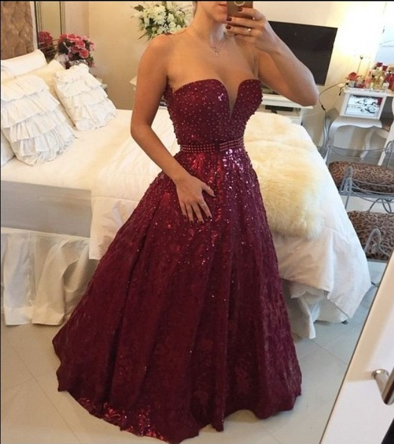 2016 Beautiful Wine Red Lace Formal Evening Gowns Sweetheart Ball ...
