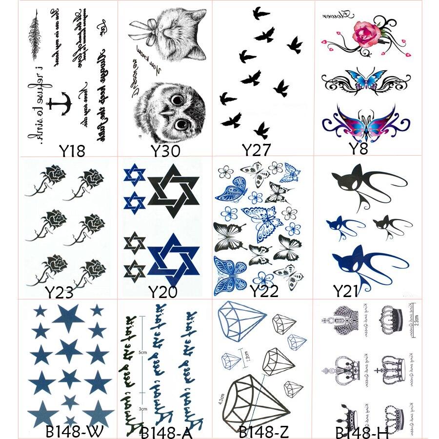 ٩ ۶12pcs Designs Temporary Tattoo For Men Fake Tattoos Henna