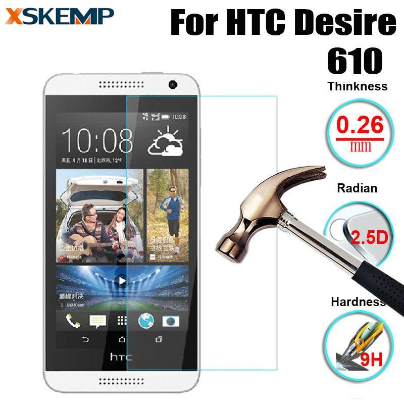 XSKEMP 2 5D Premium Tempered Glass For HTC Desire 610 9H Hardness Genuine No Fingerprint Screen