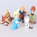 5pcs/lot 6-8cm PVC Princess Elsa Anna Action Figure Doll, Cartoon Olaf Kristoff Figure Toy, Anime Brinquedos, Toys For Children