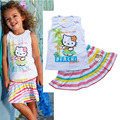 Retail baby girl clothes children summer cat vest+skirt clothing set girls clothes  2pcs sets