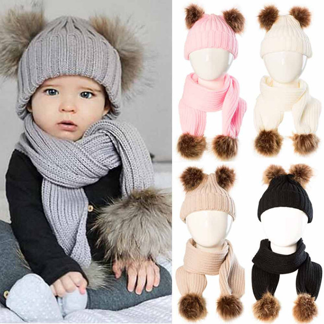 e37a15748238c Hot sale Baby Cute Winter Keep Warm Set Kids Baby Hat+Scarf Newborn Baby  Boys Girls Ball Knit Bobble Beanie Hat Winter Ski Cap