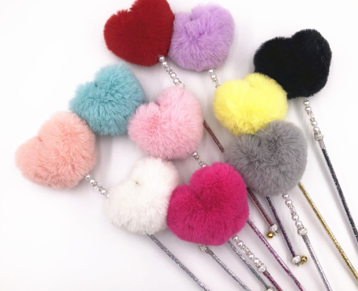 Home & Garden Able Usd 2.48/pc New Style Pet Cat Kitten Teaser Toys Cat Fishing Pole Sticks Wands Faux Rabbit Heart Style 10pcs/lot Firm In Structure