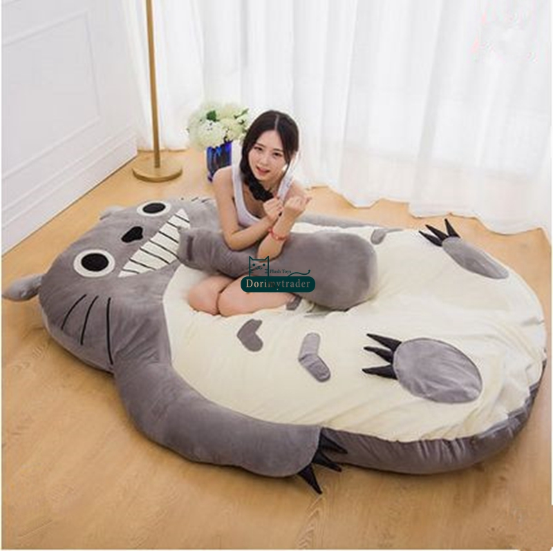 Dorimytrader Pop Anime Totoro Sleeping Bag Soft Plush Large Cartoon Bed Tatami Beanbag Mattress Kids And Adults Gift DY61004 In Movies TV From Toys