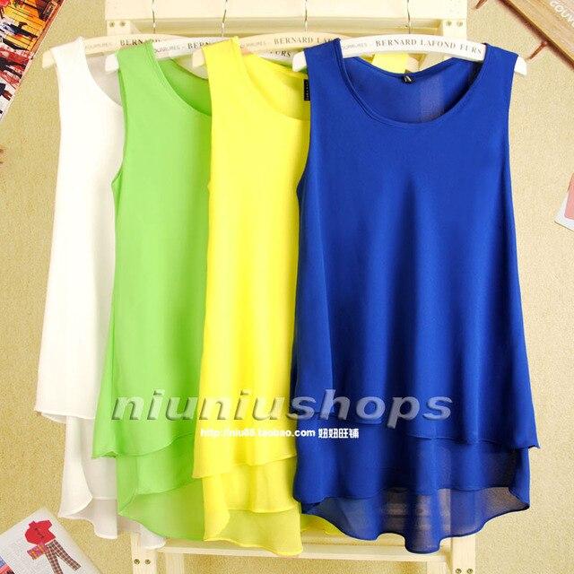 J 2013 sweet women's sweep double layer candy color chiffon sleeveless chiffon vest suspender skirt