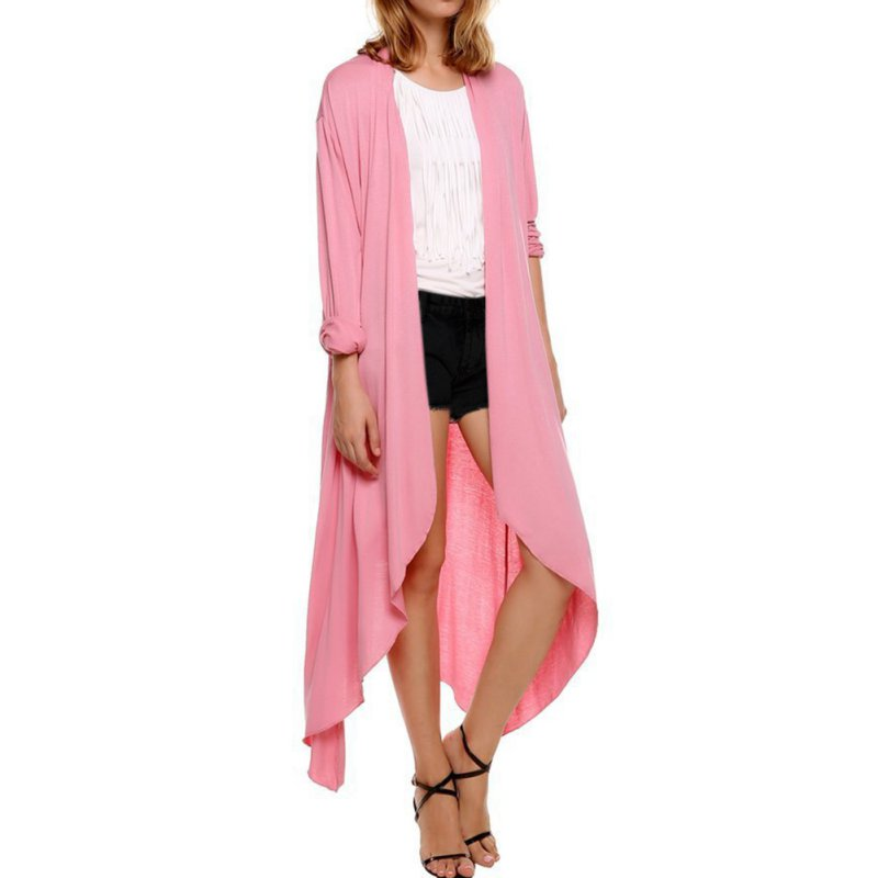 Solid Women's Long Sleeve Waterfall Asymmetric Drape Open Long ...