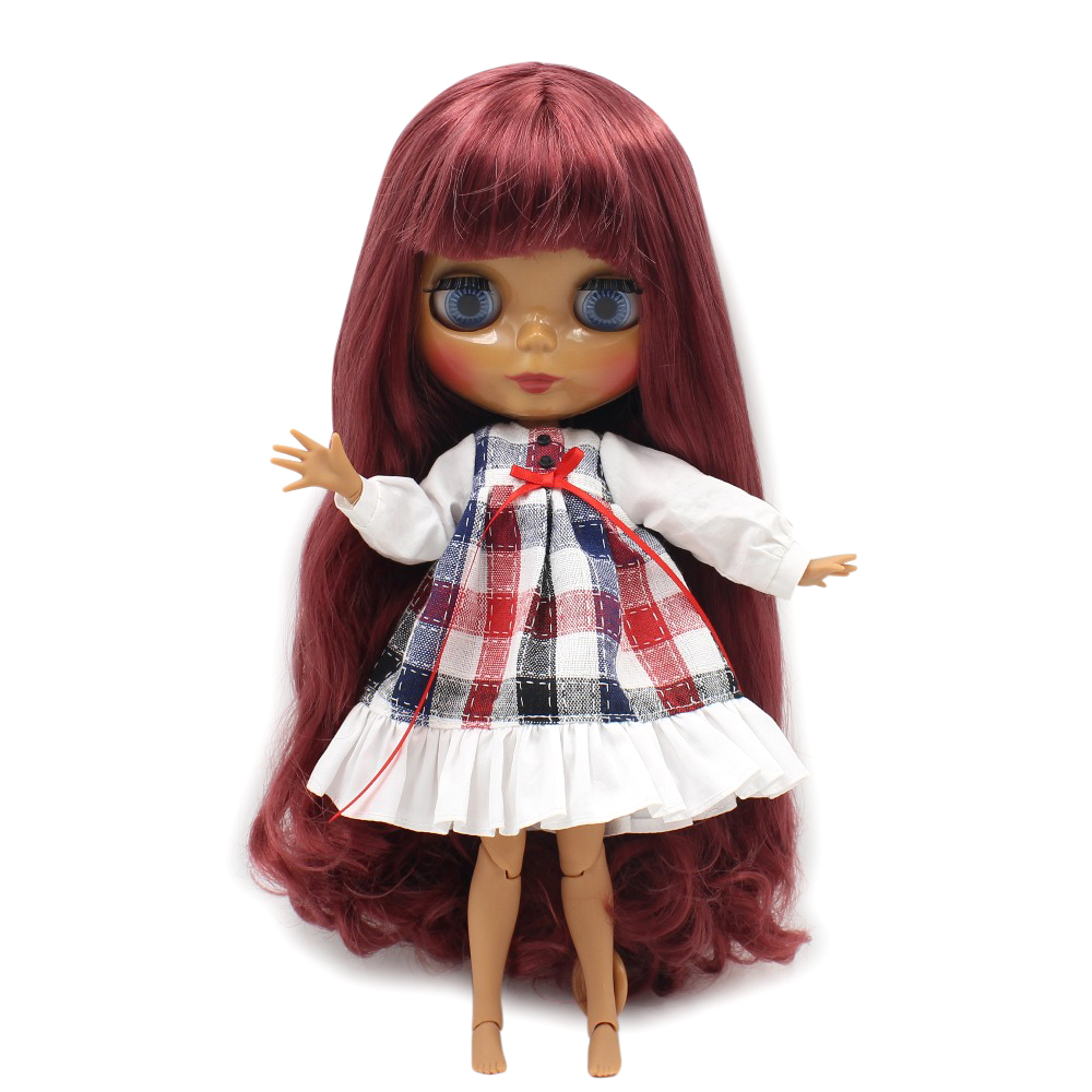 factory blyth doll dark skin joint body deep red hair 1 6 30cm toy BL12532 with