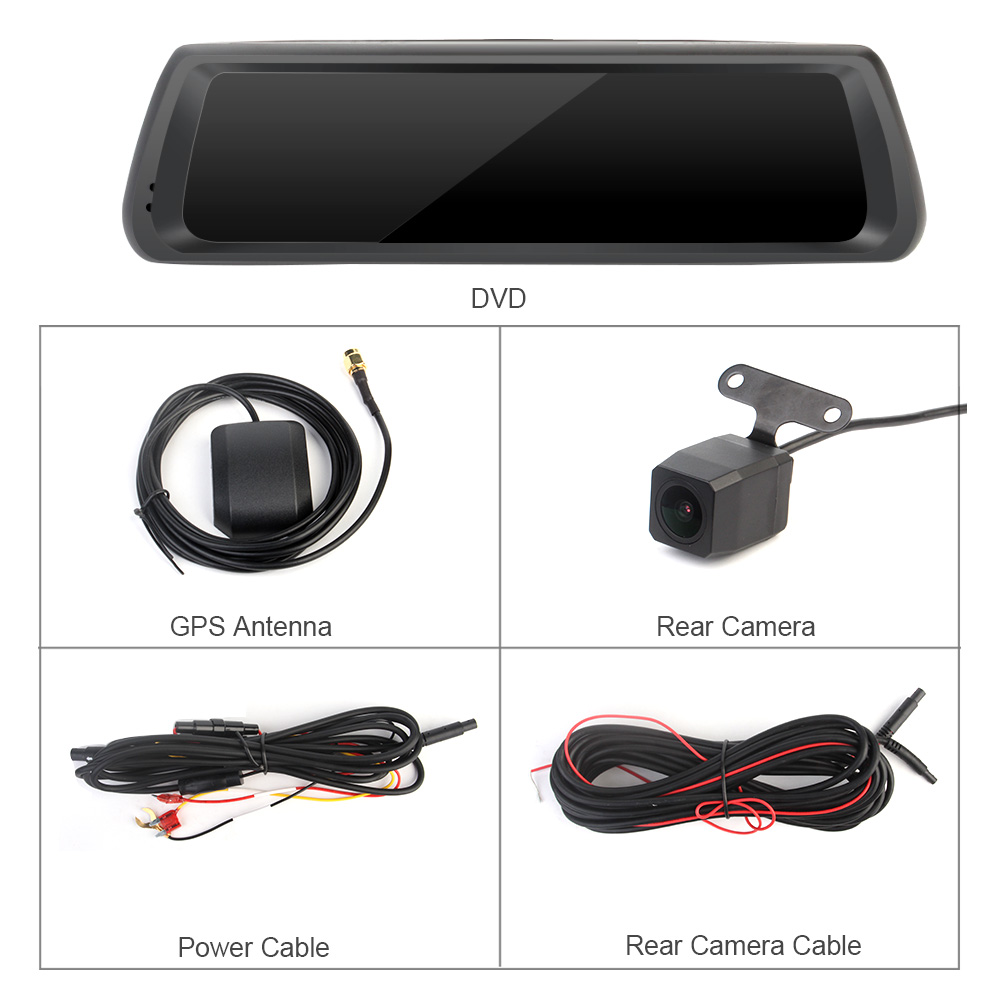 Ruccess 10 inch 4G Rearview Mirror DVR Cameras Android GPS ...