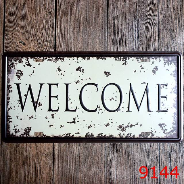 Hot! Welcome Car Number Plates Retro Metal Poster Tin Sign Tips Home ...