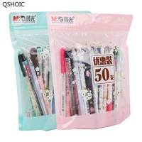 M&G 50pcs/bag Stationery Gel Ink Pen Gel Ink Set 0.35mm / 0.38mm Fountain Pen Black & Blue Gift Set 50pcs HAGP0704