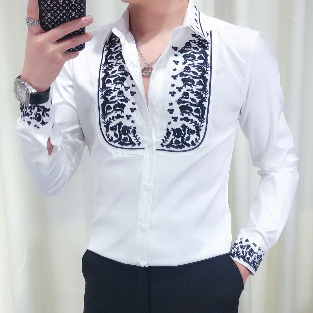 2019 Autumn New Luxury Social Men Club Embroidery Splice Long Sleeve Flower Shirt Men Kemeja Pria Camisa Masculina Black White