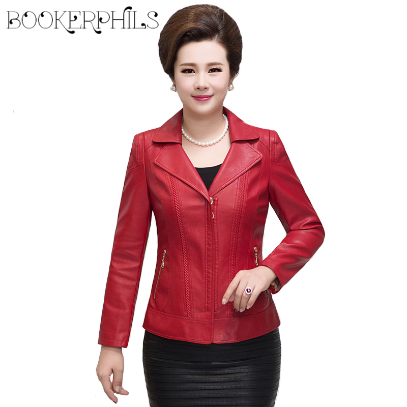 2019 Middle-aged   Leather   Jacket For Women Plus Size Soft PU Faux   Leather   Coat Female Autumn Winter Elegant Outerwear XL-6XL
