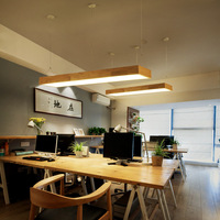 Wooden dining room lamp simple Nordic study rectangular bar Japanese-style LED solid wood office Pendant Lights WF410932