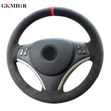 GKMHiR Black Steering Wheel Cover DIY Hand-Stitched Suede Steering Wheel Cover for BMW E90 325i 330i 335i  Interior accessories