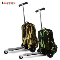 Backpack with skateboard,Suitcase with wheels,Rolling Travel Luggage ,scooter with bag,portable multi functional trolley Case