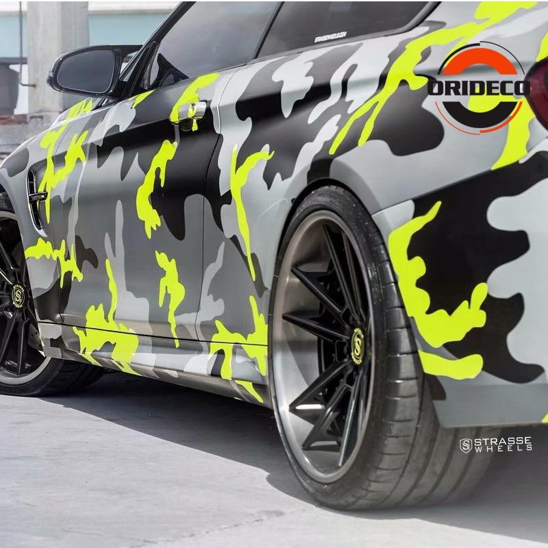 5/10/15/20/25/30m*1.52m Yellow Gray Black Camouflage Foil Vinyl Fluorescent Yellow Black Camo Vinyl For Auto Vehicle Body Wraps