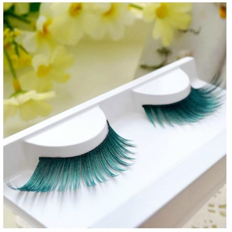 New Fashion Bright Spray Painted Dark Green Fake Eyelashes Eye Tail Plus Holiday Masquerade Art Performance PC10