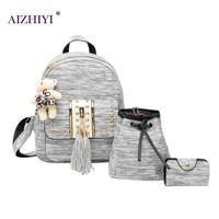 3pcs Set Tassel Bear Backpack For Teenager Girls Women Backpack Female Student School Bag Rucksack Women