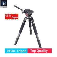 RT90C 30 kg urso De Fibra De Carbono Tripé de câmera de vídeo profissional tripé de câmera DSLR suporte para ARRI BMCC câmera Sony Nikon