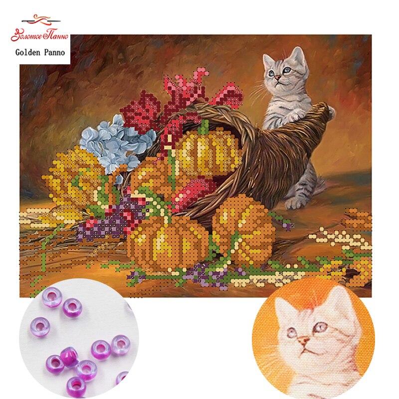 la broderie perlée sur Needlepoint kit Perles Couture Deux Tigres Bead Embroidery À faire soi-même Kit