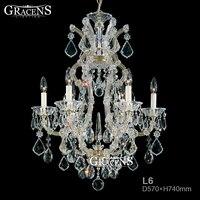 6 Arms Home Crystal Chandelier Modern Lustres De Cristal Living Room Indoor Chandeliers Lamp Living Room