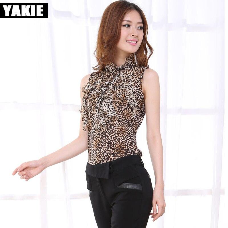Leopard  blouse shirt women plus size sleeveless bow stretch fleece women blusa blouses female blusas feminina 2017 women tops blusa sexi animal print