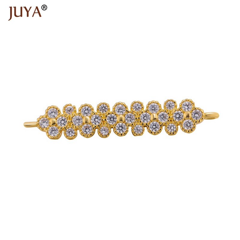 handmade diy jewelry findings components CZ crystal long connectors charms making women bracelets necklace accessories part