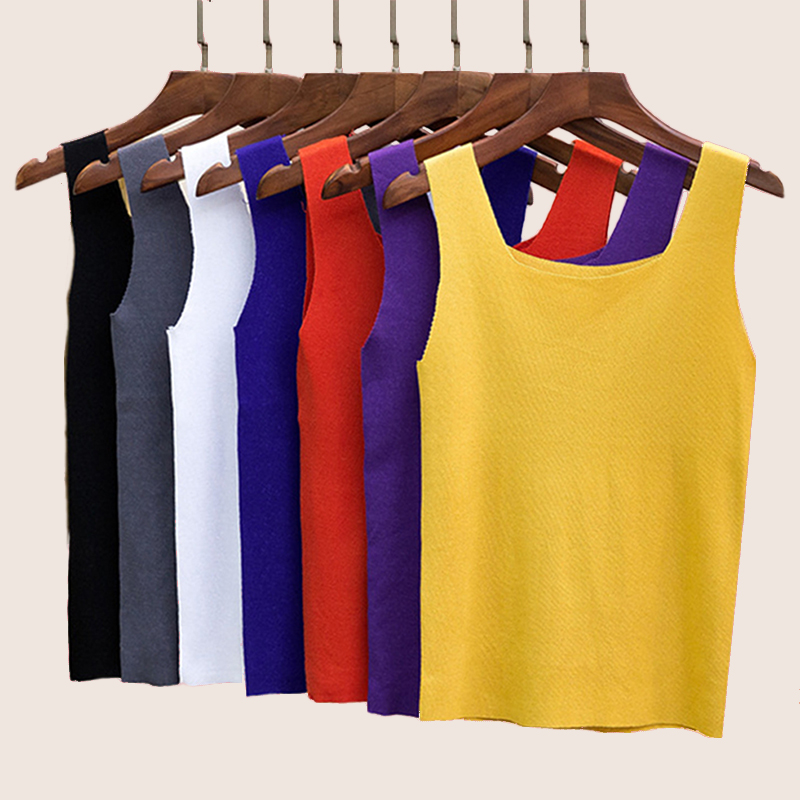 2018 New Slash Neck Tank Tops Female Summer Fashion Solid Camis Women Hight Quality Yellow Purple Black White Tops Sexy And Cute