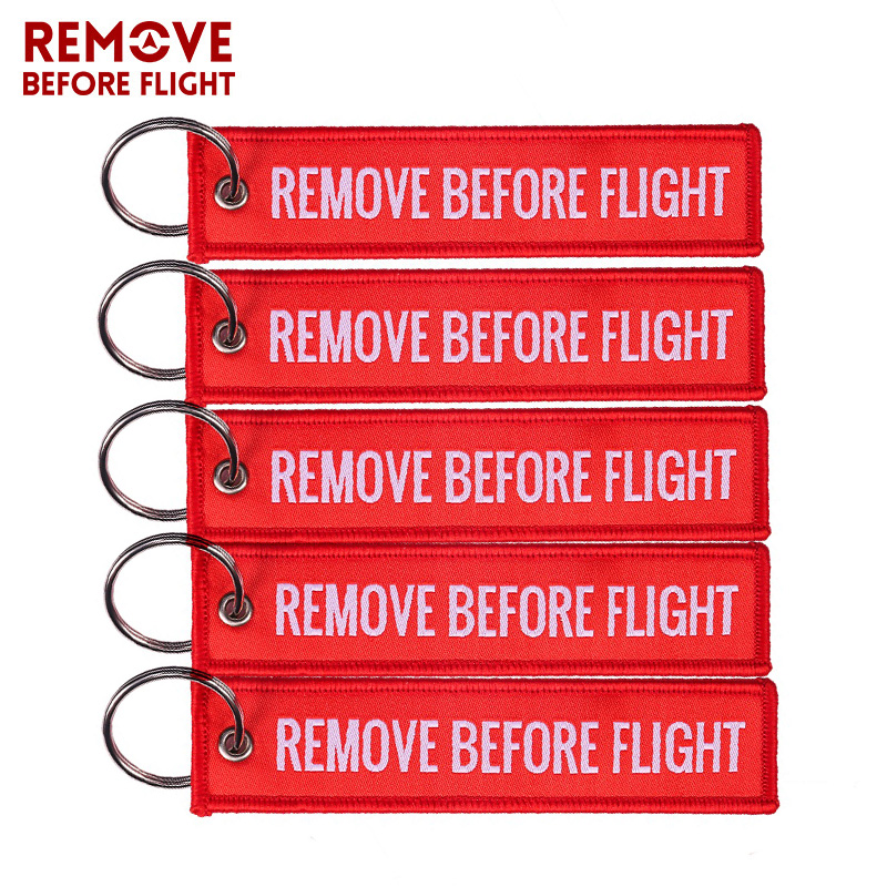 Remove Before Flight Woven Keychains Special Luggage Label Red Chain Keychain For Aviation Gifts Keyring Jewelry 5 PCS/LOT