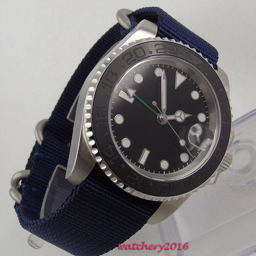 Newest 40mm parnis Black sterile dial ceramic bezel Nylon strap Sapphire Glass Luminous GMT automatic mechanical mens Watch