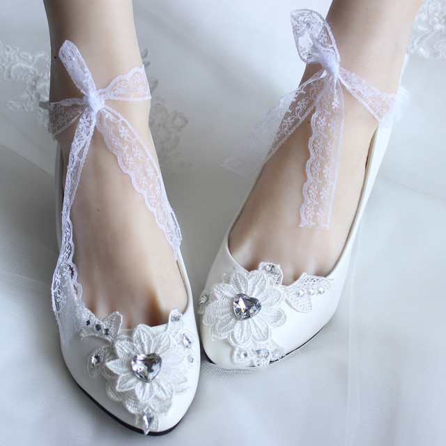 2017 Ankle Strap White Lace Rhinestone High Heeled Shoes The Bride Bridesmaid Wedding