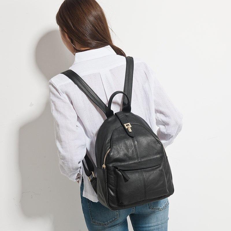 Zency Heißer Verkauf Frauen Rucksack 100% Echtem Leder Praktische Lady Reisetasche Schulranzen Für Mädchen Täglichen Lässige Knapsack Schwarz-in Rucksäcke aus Gepäck & Taschen bei  Gruppe 3