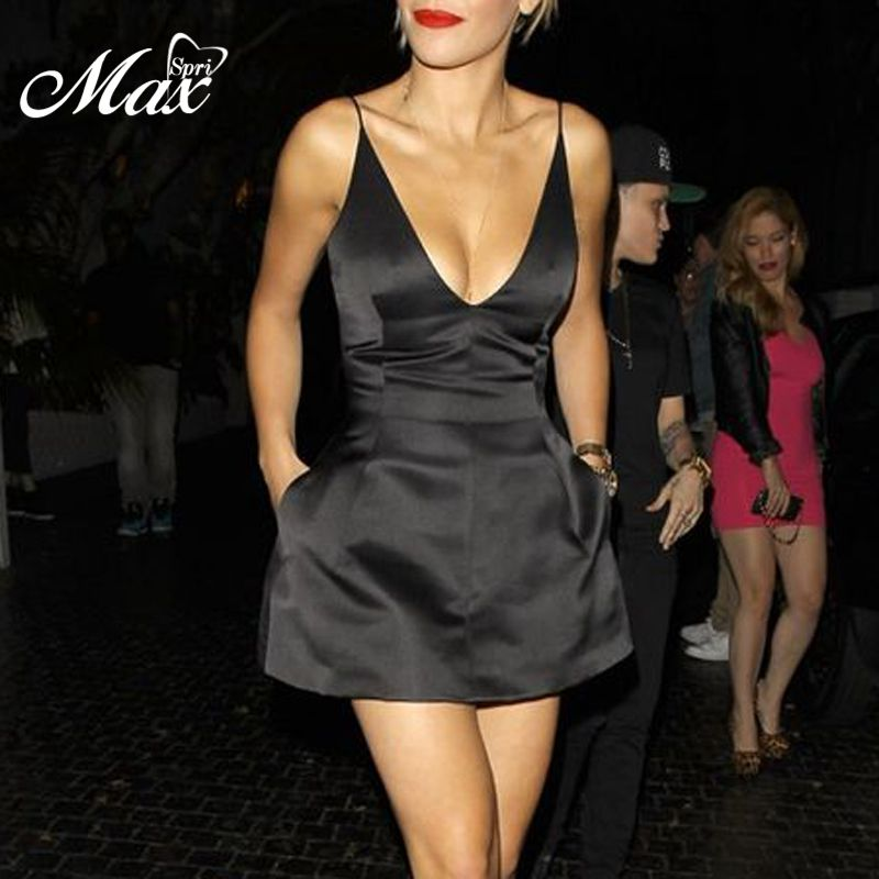 Max Spri 2019 New Sexy Spaghetti Straps Plunging Neckline Party A-Line Sleeveless Mini Dress