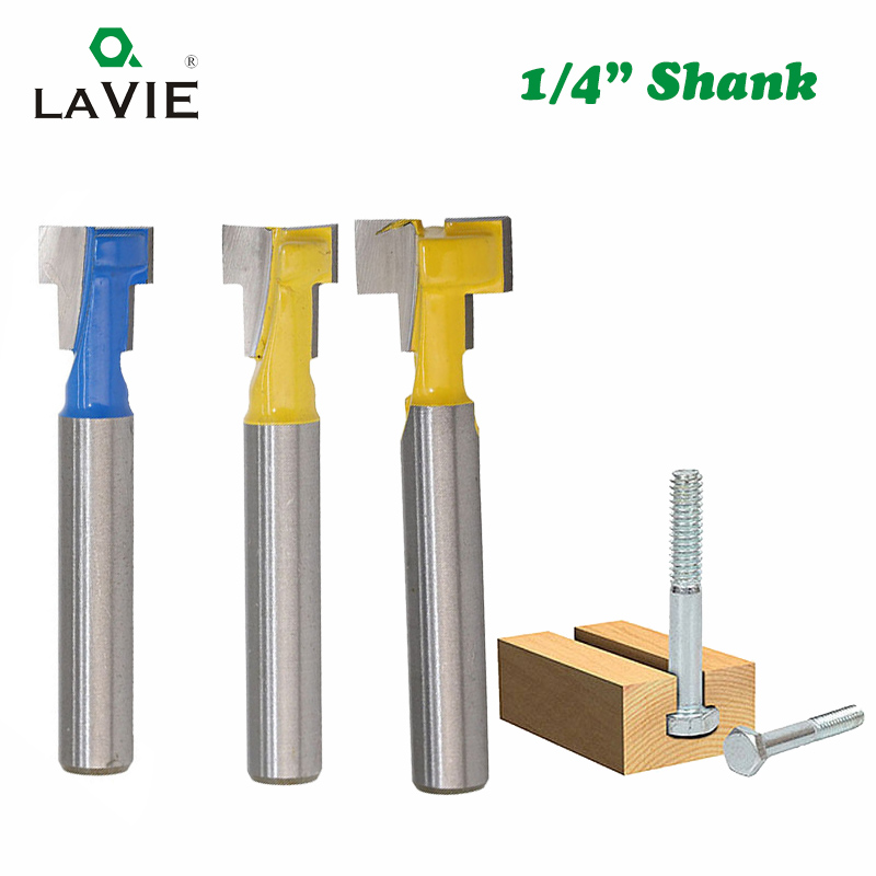 цена на LA VIE 1pc 1/4 Inch 6.35mm T Slot Router Bit Hex Bolt Key Hole Knife Keyhole Woodworking Milling Cutter End Mill MC01025