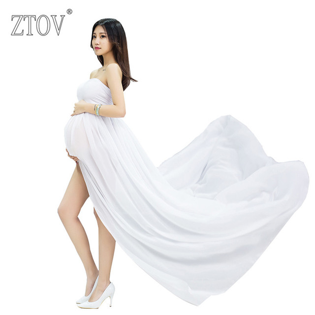 ZTOV 2017 Maternity Photography Props Fancy Shooting Photo White Pregnancy long Dress For Pregnant women portrait clothing