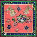 130cm Square Luxury Brand 100% Pure Twill Silk Pashmina Ropes Carriage Pattern Digital Printing Jacquard Large Soft Scarves